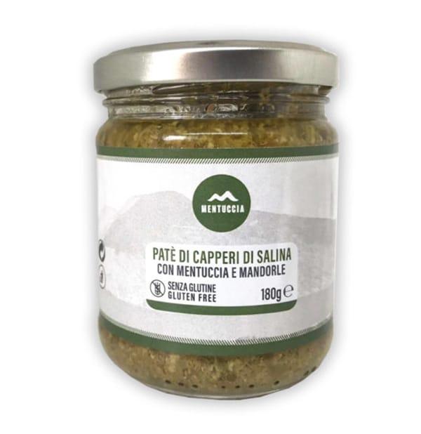 Paté di Capperi di Salina con Mentuccia, Mandorle e Olive Verdi 180g – Mentuccia